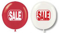 17'' Red & White Sale Assortment - 17'' Stock Printed Latex Balloons - 50 Per Unit