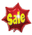 Sale Red  - 21'' Mylar Star - 5 Per Unit