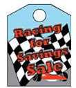 8 1/2'' X 11'' Racing For Savings Sale - 8 1/2'' X 11'' Hanging Event Tags - 1 Per Unit