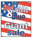 12'' X 18'' Red,White & Blue Giant Sale - 12'' X 18'' Poster - 1 Per Unit