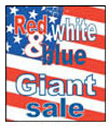 24'' X 36'' Red,White & Blue Giant Sale - 24'' X 36'' Poster - 1 Per Unit