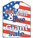 8 1/2'' X 11'' Red,White & Blue Giant Sale - 8 1/2'' X 11'' Hanging Event Tags - 1 Per Unit