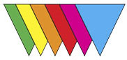 Plastic Pennant Banner- Multi-Color - 18'' X 120' String- For indoor or outdoor use - 1 Per Unit